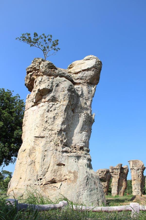 Stone henge of Thailand, Mor Hin Khao at Chaiyaphum province Tha. Iland on blue sky stock photo
