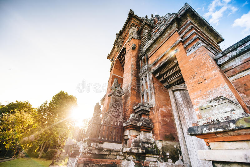 Stone hindu Temple in Bali, Indonesia. Asia religion with exotic temples and sunset stock photo