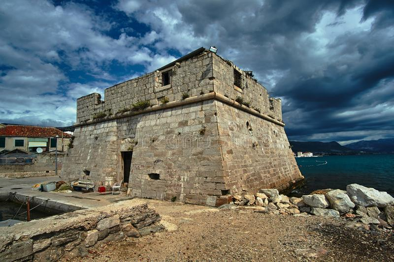 Stone, historic castle town. Of Kastel in Croatia royalty free stock photography
