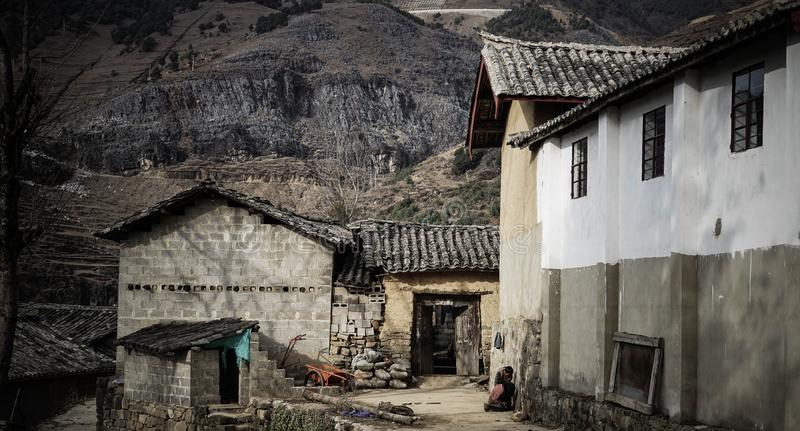 Stone homes in abandoned village stock image