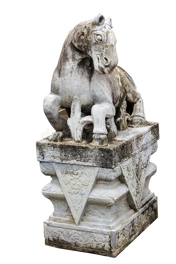 Stone horse carved on the platform with Chinese style stock photography
