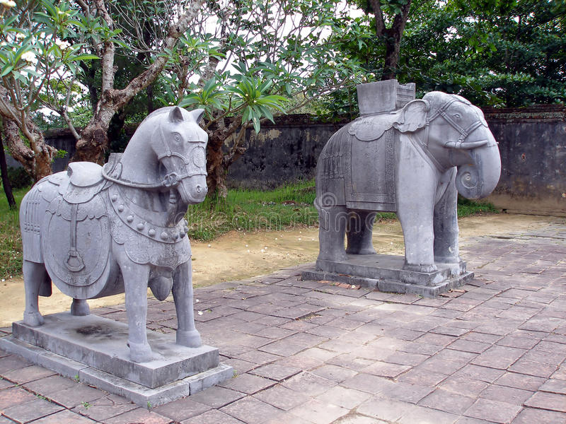 Download Stone horse and elephant stock photo. Image of head, ancient - 12864120