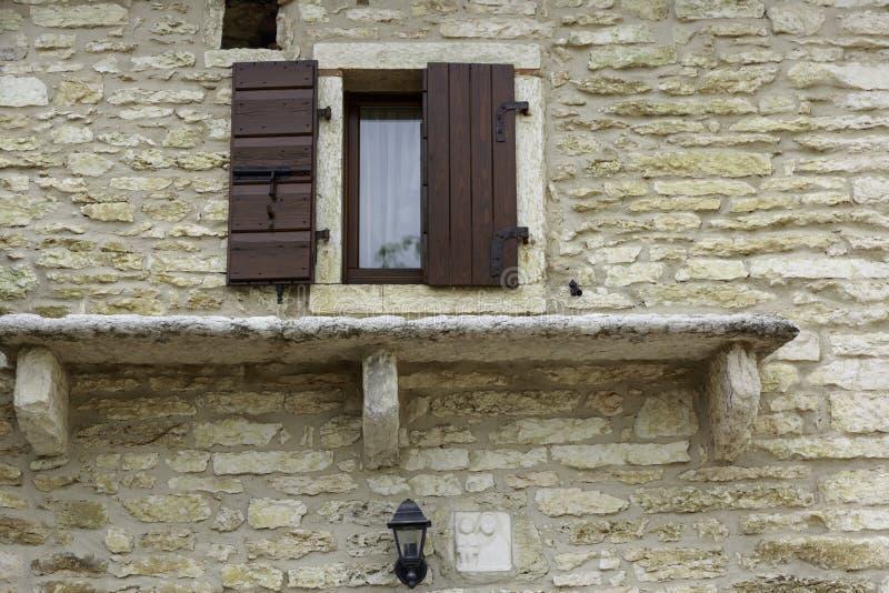 Stone house in the mountain italian houses stock photo