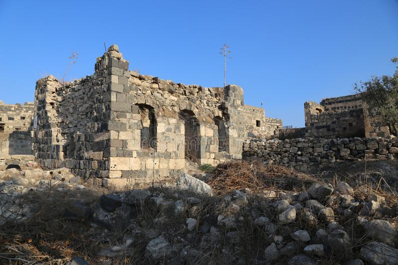 Stone house, Om Qays, Jordan stock foto's