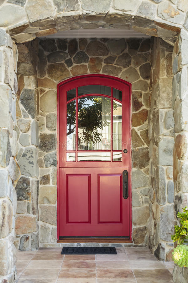 Red Door With Glass : Stone house and red front door stock image of
