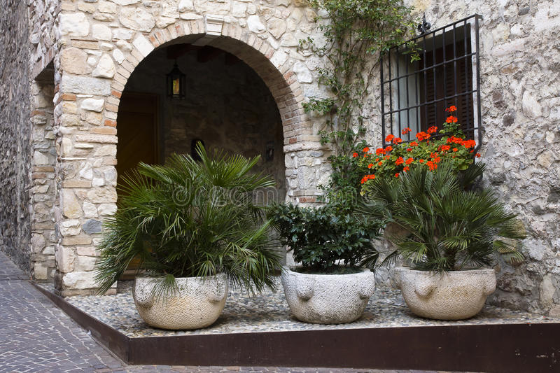 Stone house, Sirmione, Italy stock images