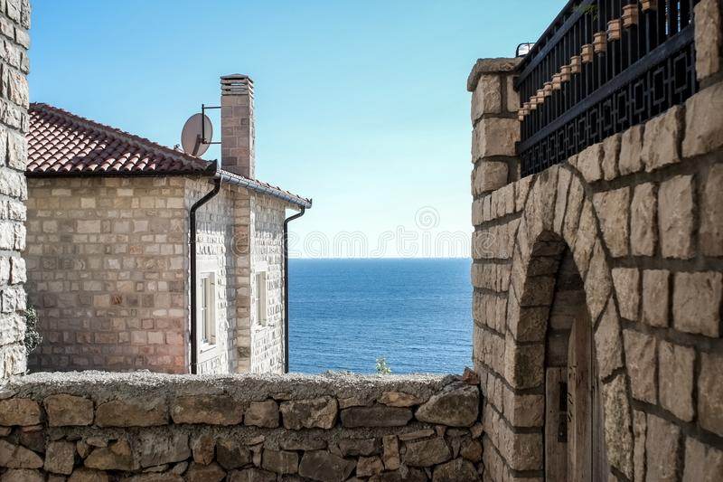 Stone houses in the Old Town of Ulcinj, Montenegro royalty free stock photo