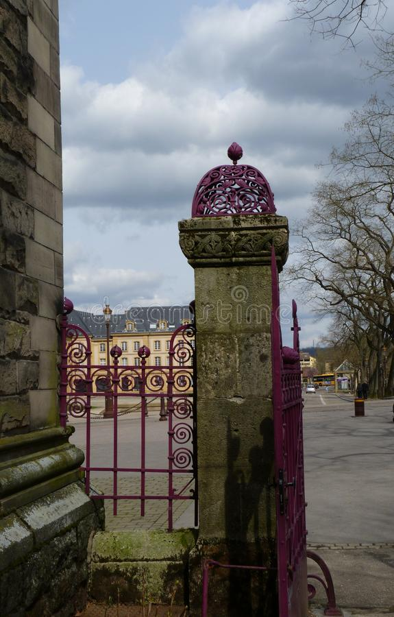 Stone and Iron Metalwork Gate royalty free stock photo