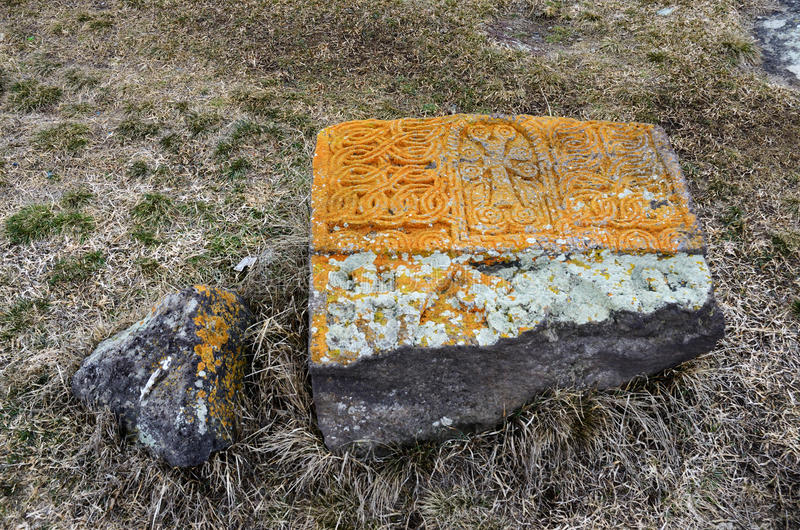 Stone khachkar with traditional ornament at Noratus cemetery royalty free stock images