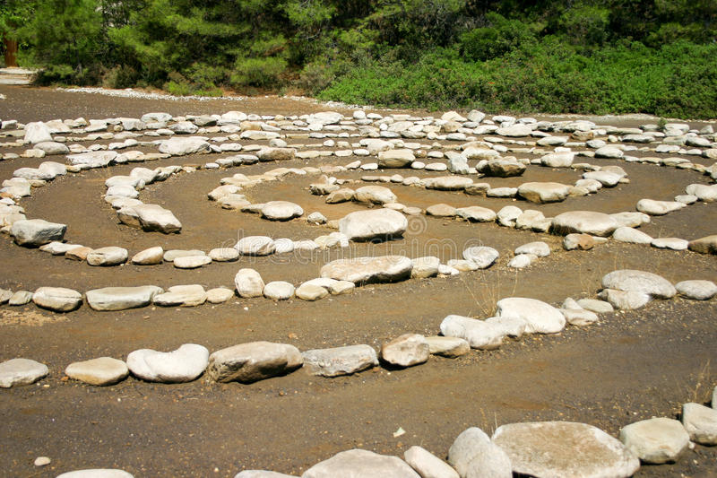 Stone labyrinth stock photo