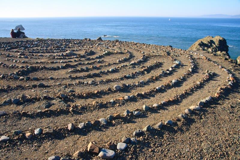 Stone labyrinth stock photos
