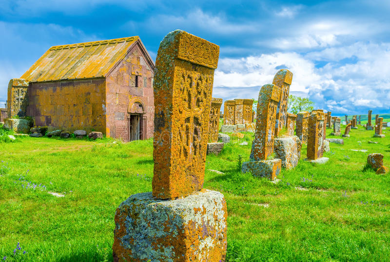The stone lace. Each khachkar at Noratus Cemetery boasts unique and complex ethnic pattern, carved on it, Noratus Cemetery, Gegharkunik Province, Armenia stock images