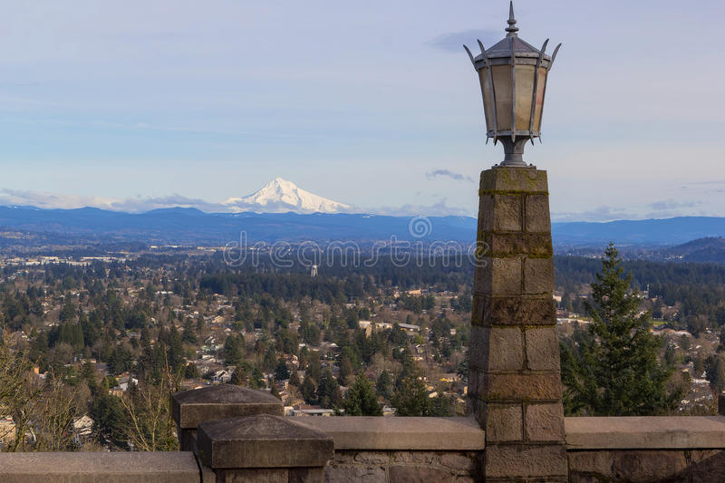 Stone Lamp Post at Rocky Butte. In Portland Oregon with Mount Hood view during a beautiful sunny day stock images