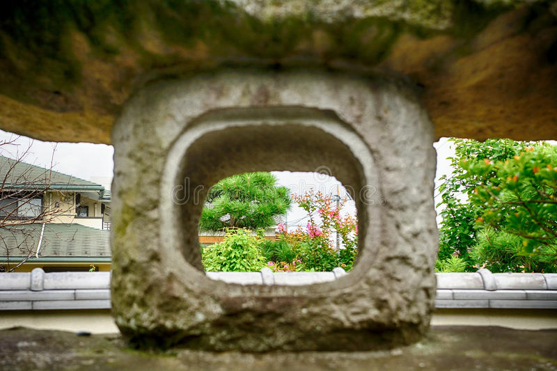 Stone lantern at Nanzo-in Buddhist temple, Tokyo,Japan. Stone lantern at Nanzo-in Buddhist temple in Tokyo, Japan stock image