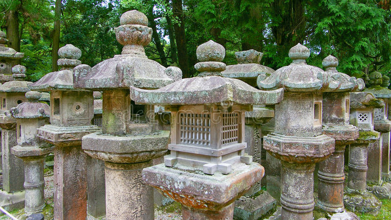 Stone lanterns royalty free stock photography