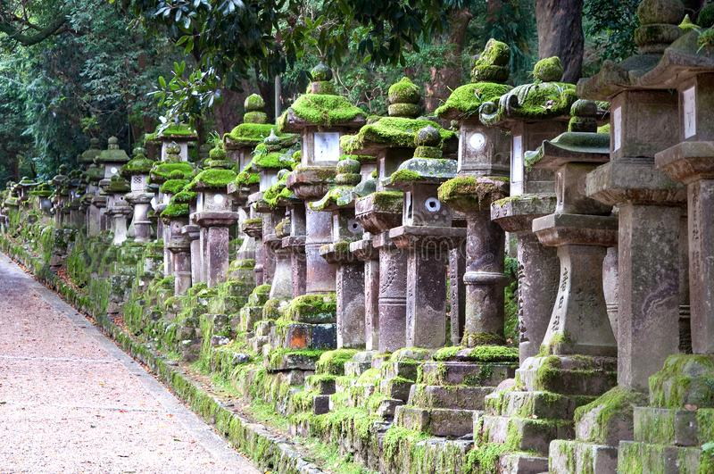 Stone lanterns in Kasuga-Taisha Shrine in Nara, Japan stock images