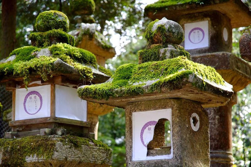 Stone Lanterns Nara, Japan royalty free stock images
