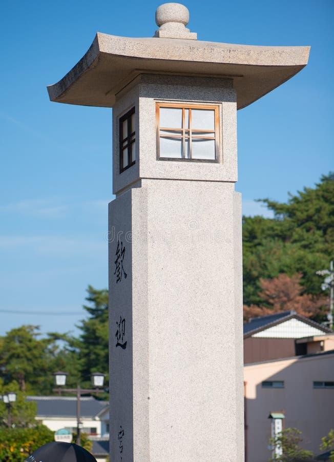 Stone lastern at Miyajima island. Hiroshima, Japan royalty free stock photography