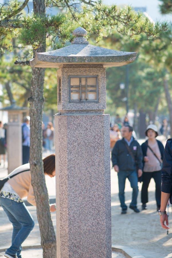 Stone lastern at Miyajima island. Hiroshima, Japan royalty free stock photo