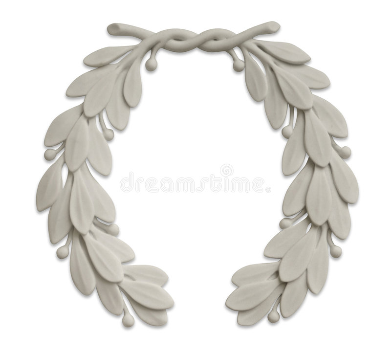 Stone laurel wreath stock images
