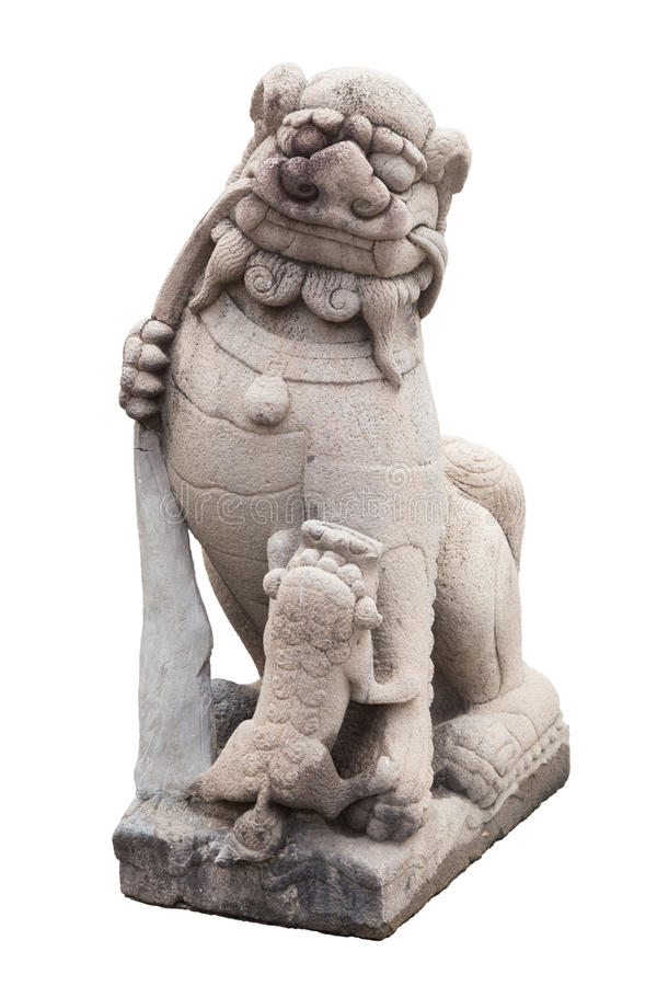 Stone Lion sculpture, symbol of protection & power stock image