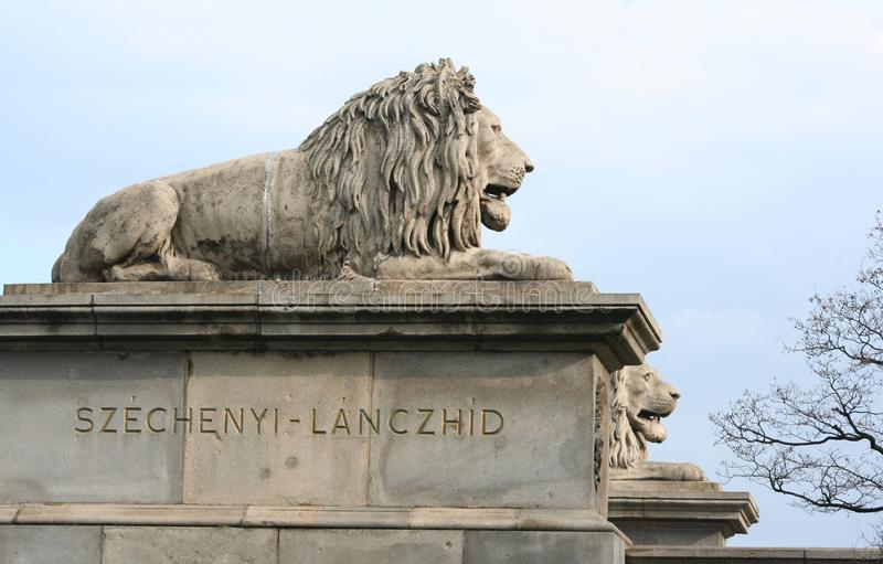Stone lions stock photography