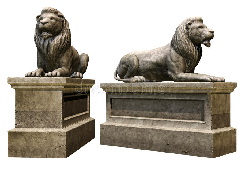 Stone lions. 3D render of stone lion statues royalty free illustration
