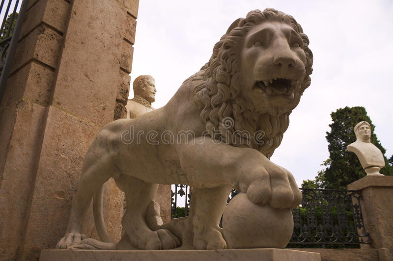 Stone lions in Monforte Gardens royalty free stock photo
