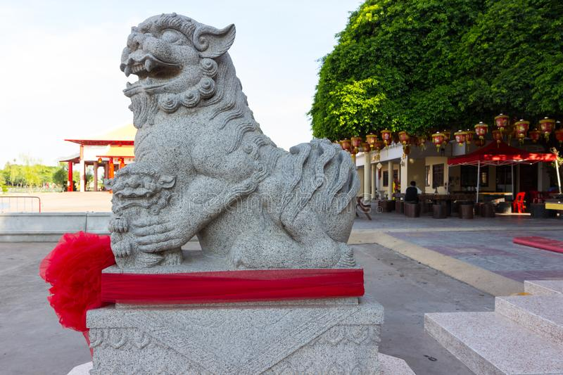 Stone lions in the public place. Use for background royalty free stock images