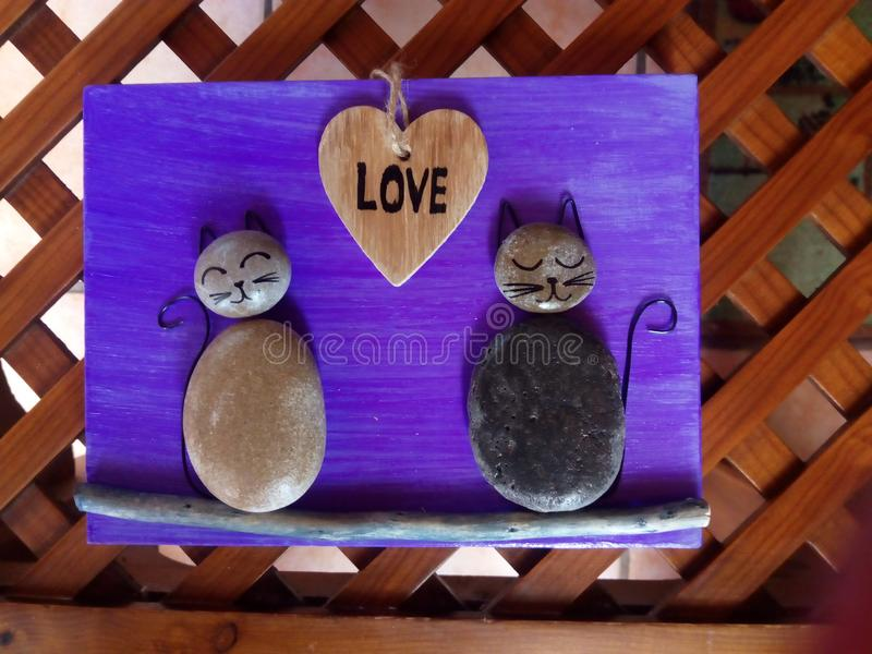 Love cats stones royalty free stock images