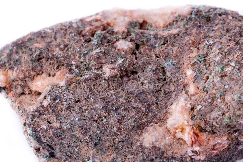 Stone macro mineral malachite on a white background. Close up stock photo