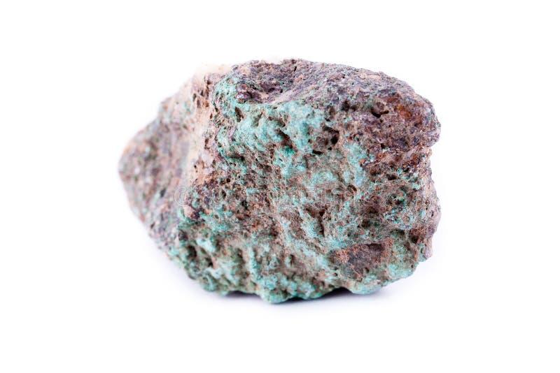 Stone macro mineral malachite on a white background. Close up stock image