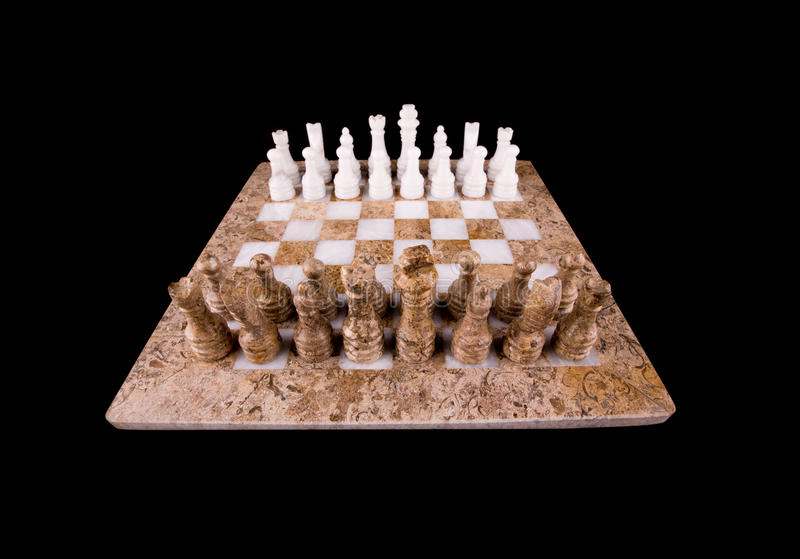 Stone Made Chess Set VIII. Brown and white pieces of stone made chess set on black background royalty free stock photography