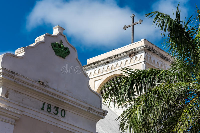 Stone marker with construction date near a church. In Christiansted St. Croix royalty free stock image