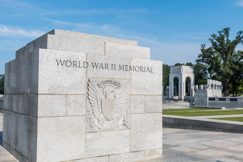 Stone Marker With Great Seal at World War II Memorial stock photo