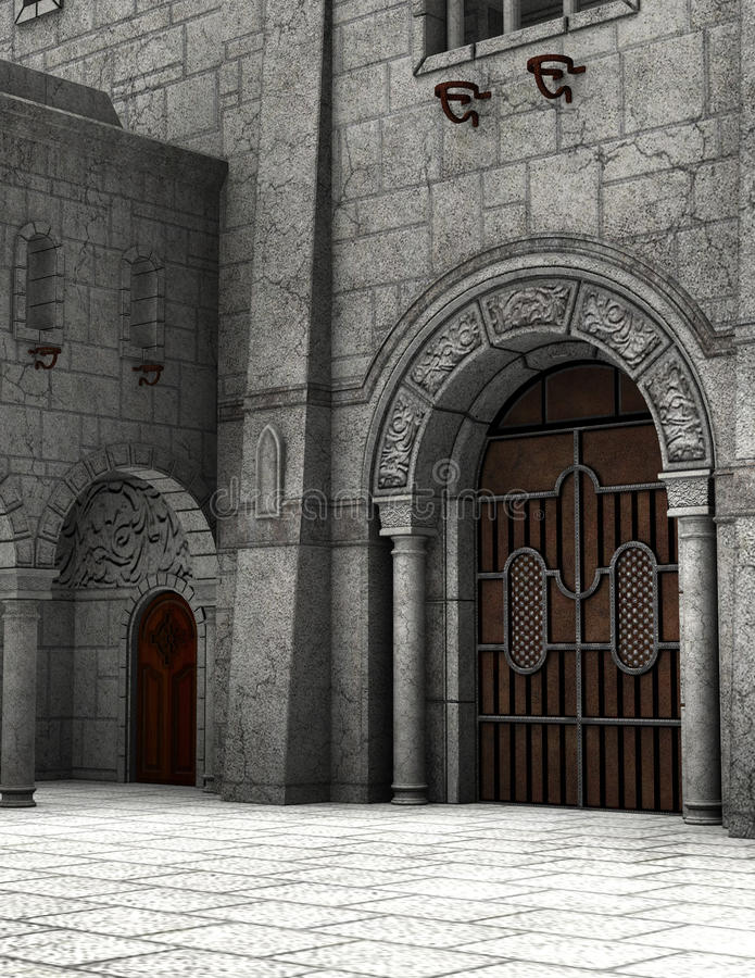 Free Stone Medieval Castle Courtyard Illustration Royalty Free Stock Photography - 60462137