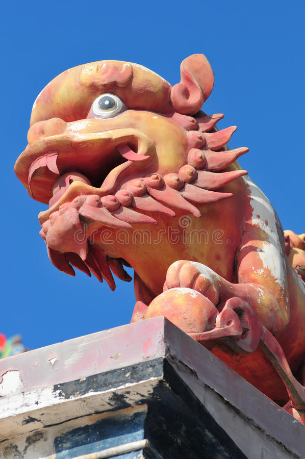 Stone Monster. In Chinese Temple royalty free stock images