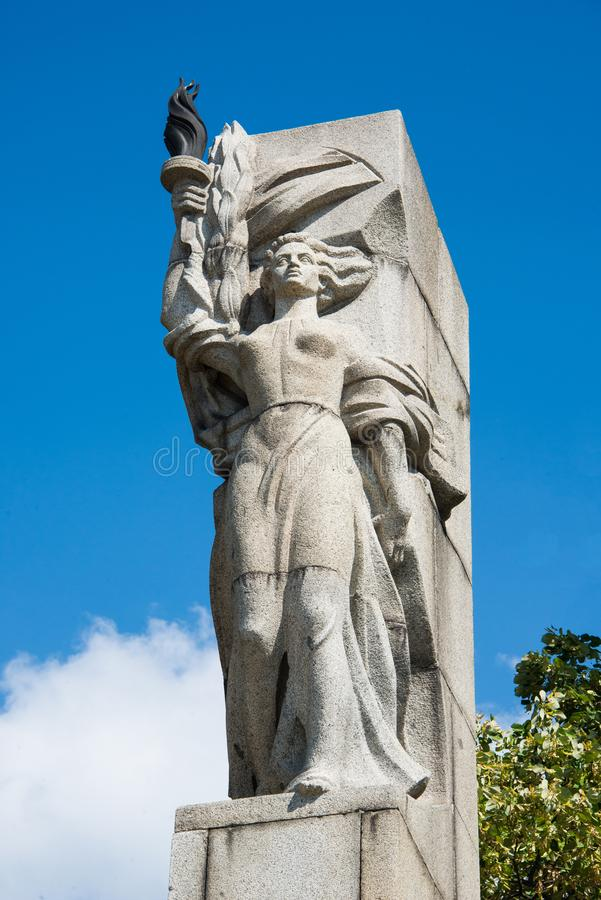 A stone monument representation of liberty close up. A stone monument representation of liberty from the ottoman empire oppression in the 15 century. The stock photography