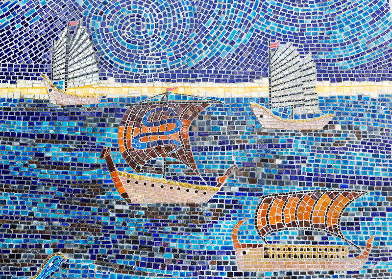 Stone mosaic of sailboats royalty free stock image