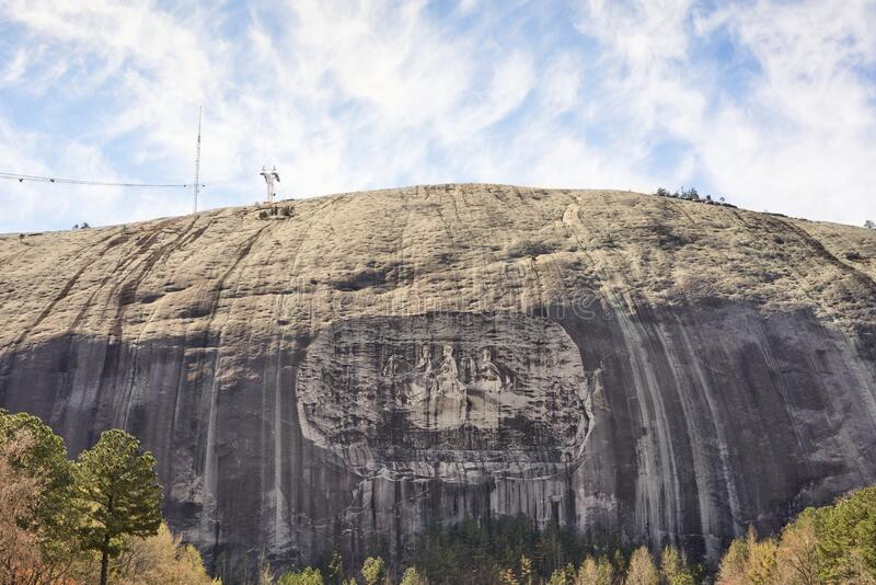 Stone Mountain with rock relief in Stone Mountain Park, Georgia, USA. royalty free stock photo
