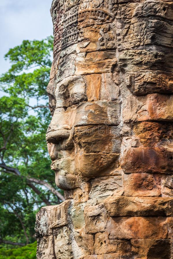 Stone murals and sculptures in Angkor wat, Cambodia.  stock photos