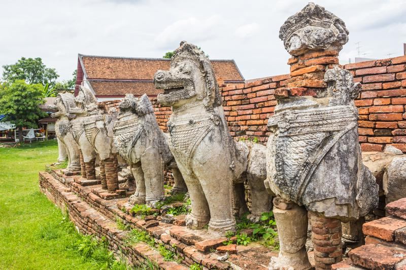 Stone mythical creatures like lions in the ruins of an ancient temple at Ayuthaya, Thailand royalty free stock photo