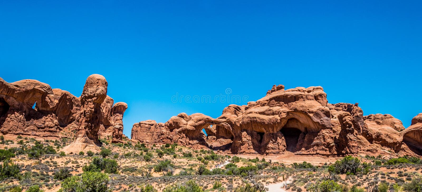 Stone natural arch Windows. Panorama of Arches National Park, Utah, USA stock photo