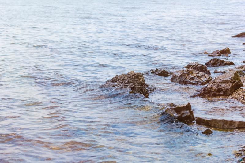 Stone near the river. Waves run on the coastline. Summer sunset. The sun`s rays are reflected in the water.  stock image