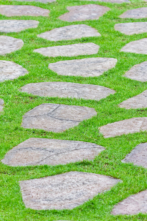 Stone path on green grass stock image
