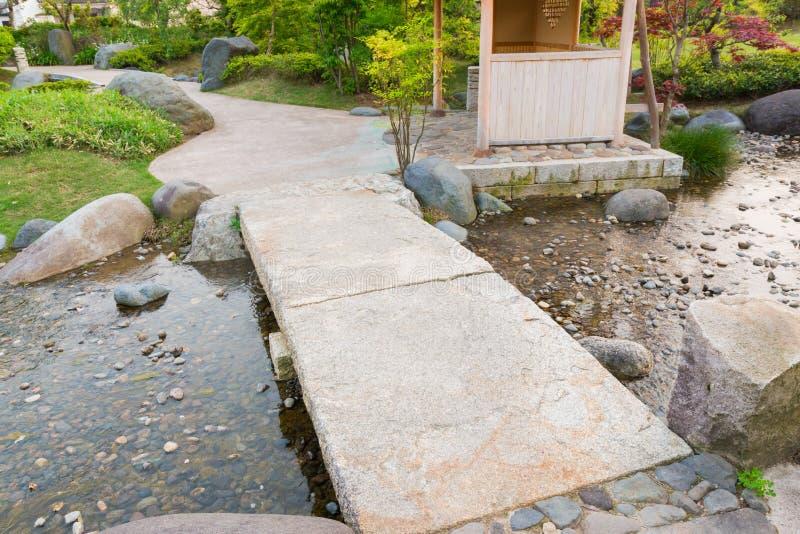 download stone path in a japanese garden stone bridge across a pond stock - Japanese Garden Stone Bridge