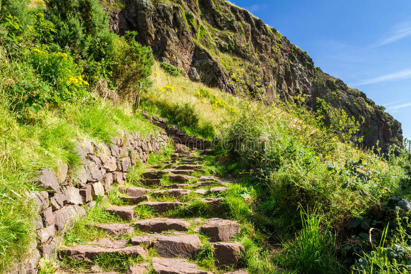 Stone path leading to the peak royalty free stock image