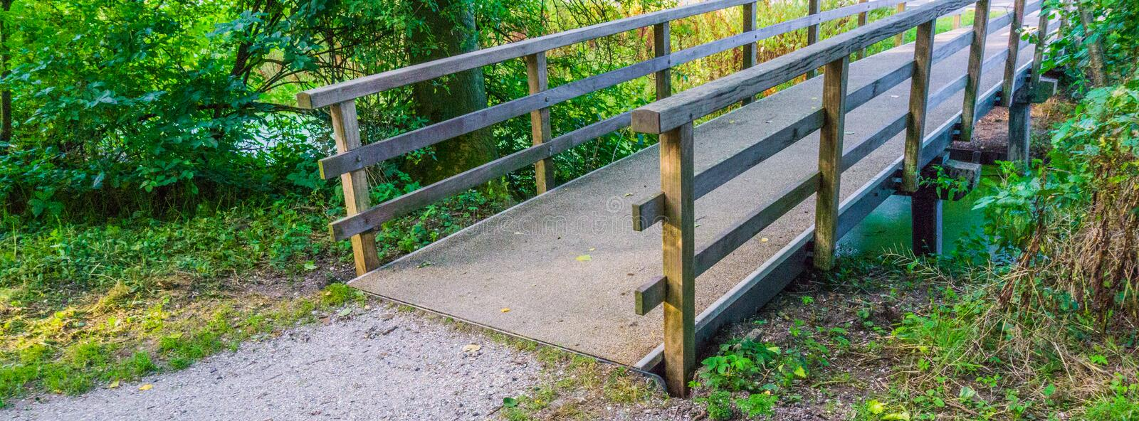Stone path with wooden bridge royalty free stock images