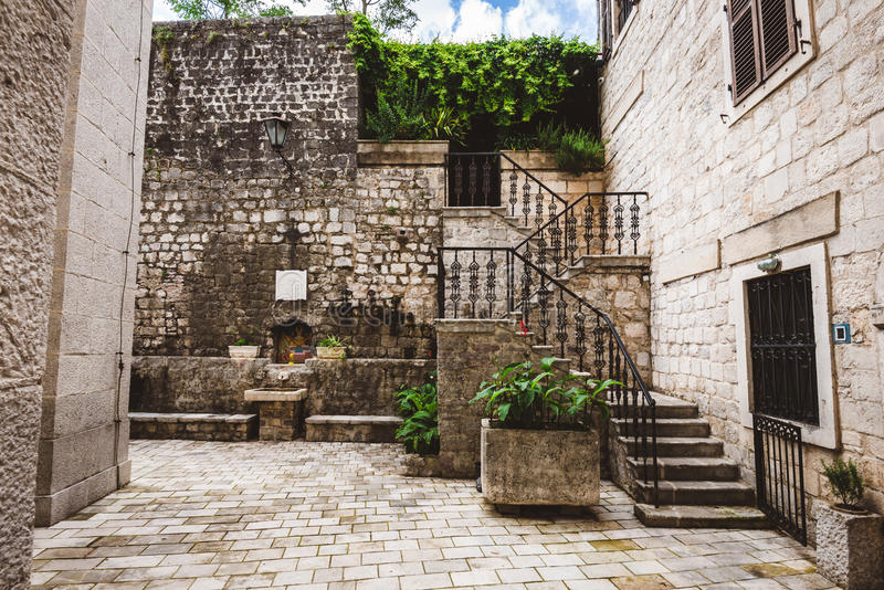 Stone Patio in Kotor Old Town stock image
