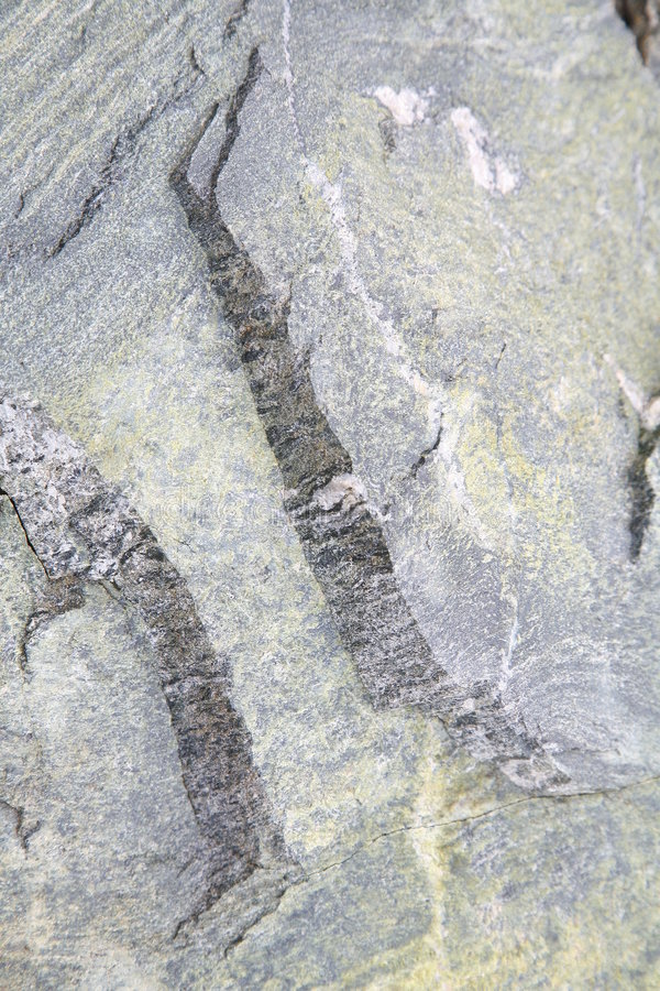 Stone pattern and crack. Pattern on a stone in the mountains which broke in two when rolling down a steep slope, cracks and fissures produce an intriguing design stock photography